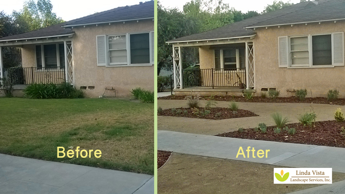 Before After Many California Homes Are Typical To This Home Large Swaths Of Grass In The Front Yard And Parkway With Patches Bushes Near
