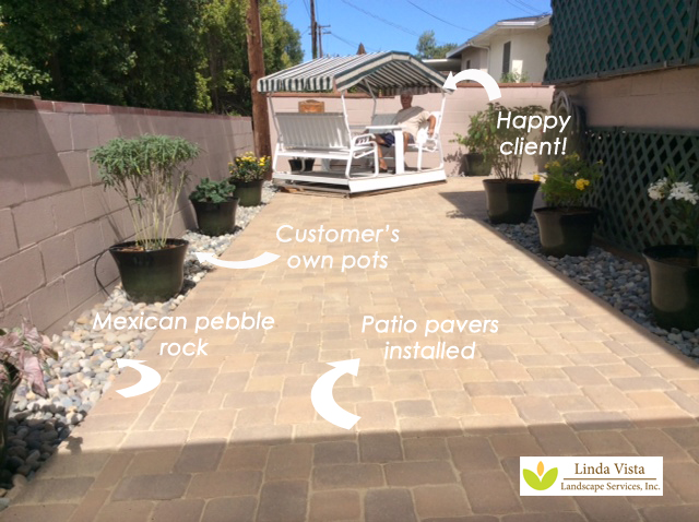 Mexican pebble stone and patio pavers by Linda Vista Landscape
