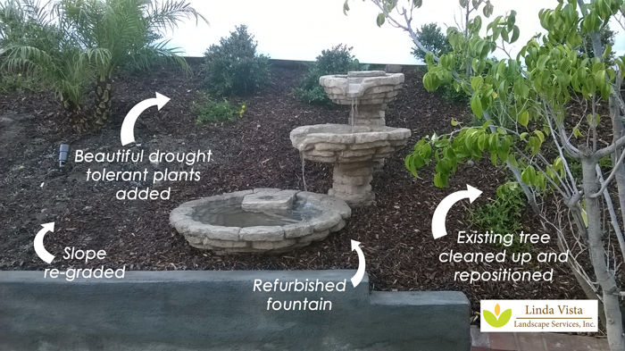 refurbished fountain by Linda Vista Landscape Services