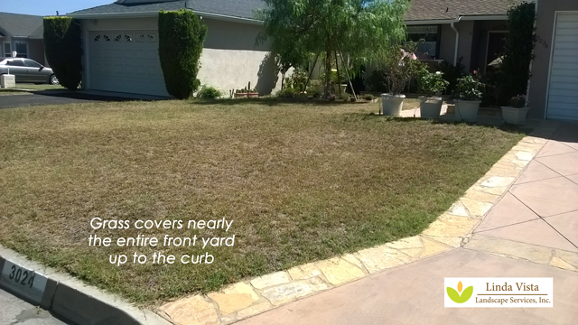 grass yard before landscape makeover by Linda Vista Landscape