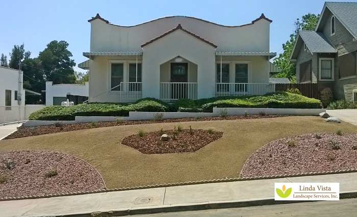 Drought tolerant landscape with easy low water plants.