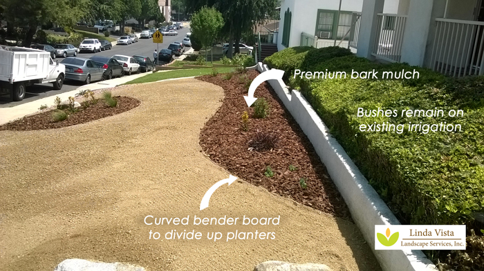 Bark mulch used as part of the easy low water plants in planters