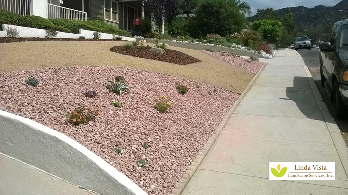 Pink decorative rock with easy low water plants.